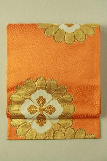 Chrome orange fukuro obi (rokutsu), seikaiha and flower pattern…