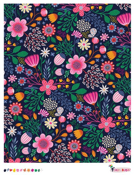 Wild Floral - pattern by helen dardik- Reminds me of Errol Le Cains Illustrated Fairy tales- The foreground was jam packed with detailed flowers and animals