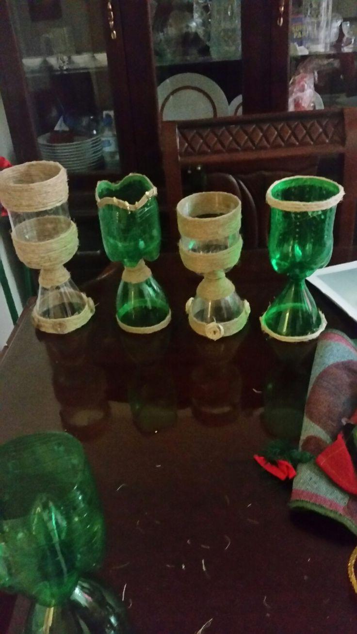 Manualidades copas con botellas plasticas