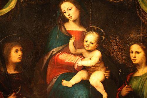 Madonna col Bambino e santi di Mariotto Albertinelli, 1514, tavola, chiesa di San Michele a Volognano, Rignano sull'Arno Firenze MARIOTTO ALBERTINELLI (Firenze, 13 ottobre 1474 – Firenze, 5 novembre 1515)