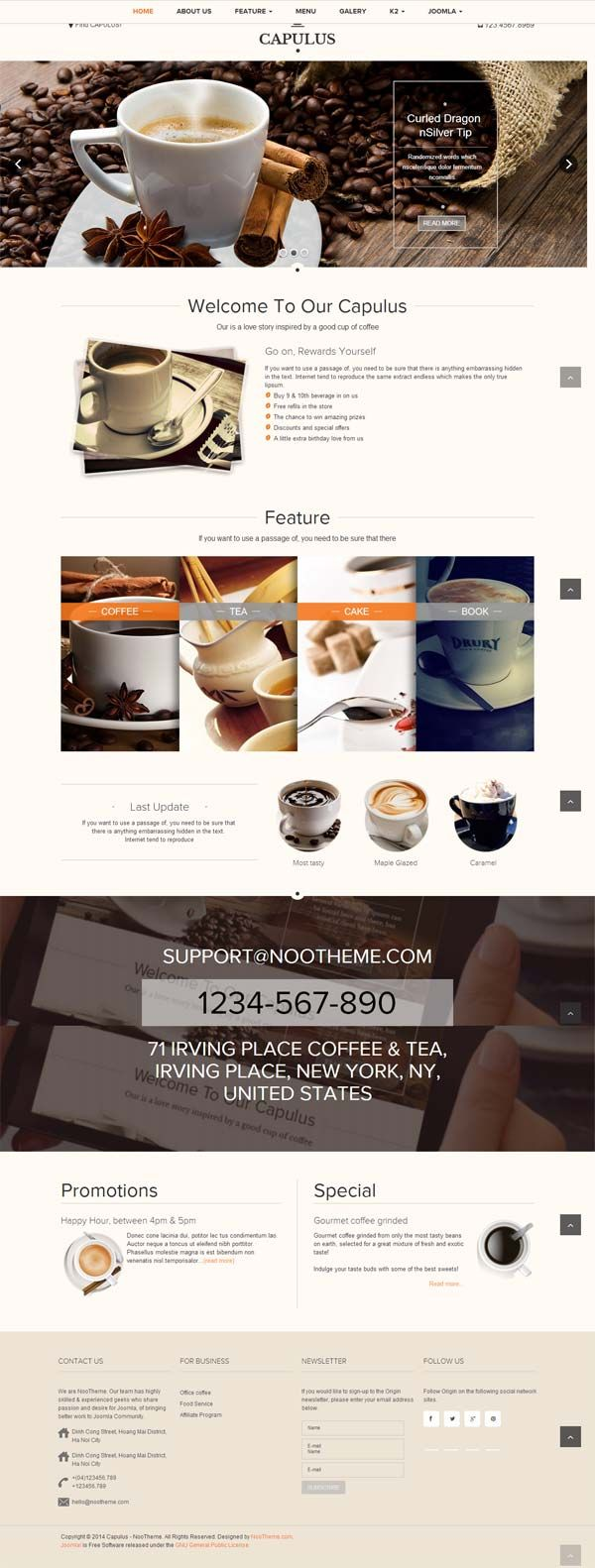 Noo Capulus Coffee Joomla Template is Responsive Joomla Template best fit for various tea, coffee, bistro and bakery shops  http://goo.gl/cYQuxf  #NooCapulusCoffeeTemplate #CoffeeJoomlaTemplates #ResponsiveJoomlaTemplates