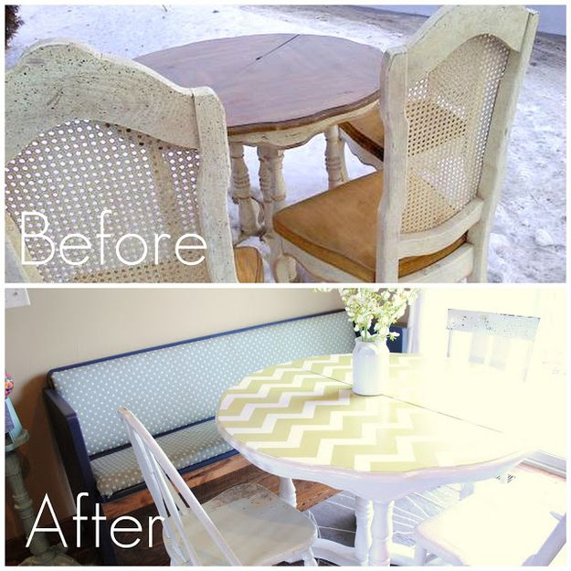 Up your dining table game by turning it chevron. | 27 DIY Ways To Give Your House A Quick Pick-Me-Up