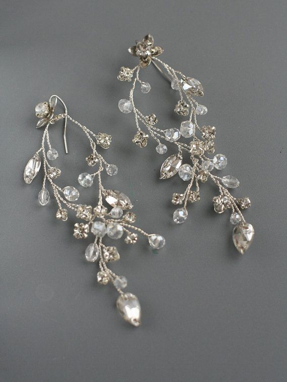 earrings marriage of rhinestones and silver