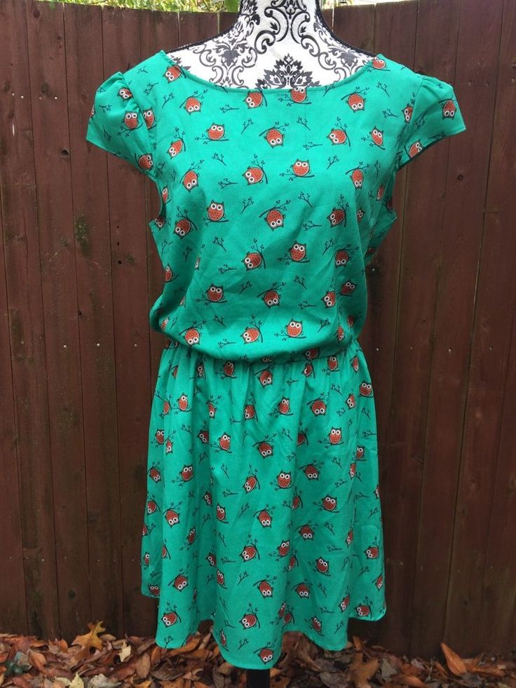 Owl Dress XL Novelty Print Retro Babydoll Dress Elastic Waist  | eBay