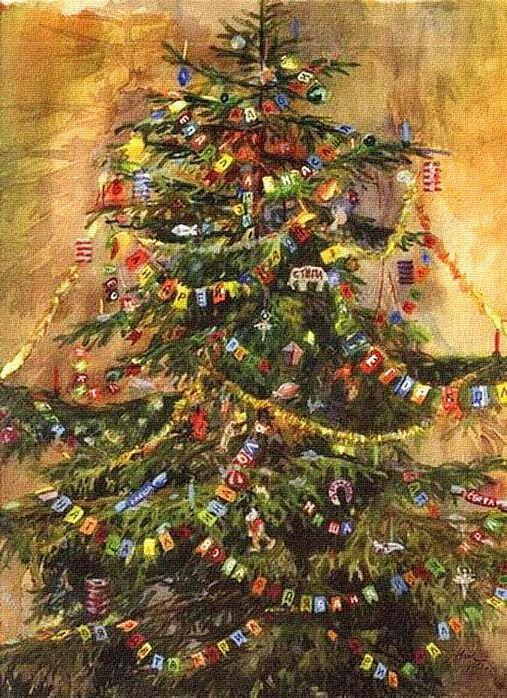старинные открытки с наряженной елкой - Поиск в Google