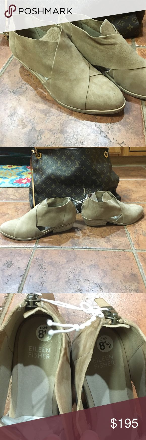 🎉 Eileen Fisher shoes Nude suede Eileen Fisher ladies shoes. They are new without box.  Have been tried on in store so the sole of one shoe is dirty as seen in picture. I was hoping to fit the 8.5, but need larger size. Eileen Fisher Shoes Ankle Boots & Booties