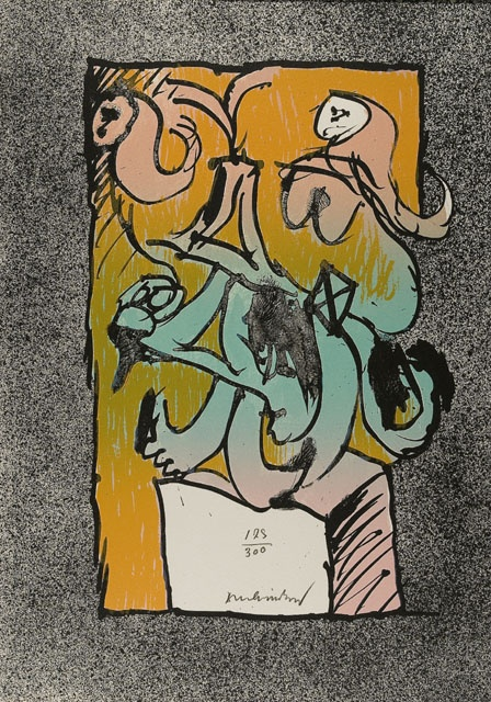 """""""Digitale"""", 1970, Pierre Alechinsky, Belgian (b. 1927), lithograph on paper, 17.33 x 12 1/4 in. Gift of Michael Bloom, 1978. 1978.2554"""