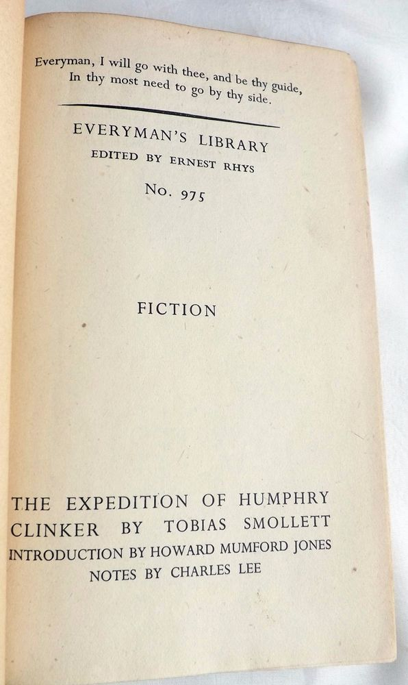 The Expedition Of Henry Clinker by Tobias Smollett 1943 Everyman's  Hardcover