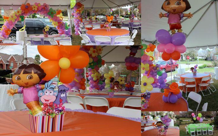 Google Image Result for http://www.petitdelights.com/wp-content/uploads/2012/03/Balloon-Decor1-1024x640.jpg: Dora Birthday, Balloon Ideas, Imagina Ideas, Wedding Ideas, Dora Party, Girls Parties, Center Piece, Party Ideas, Birthday Ideas