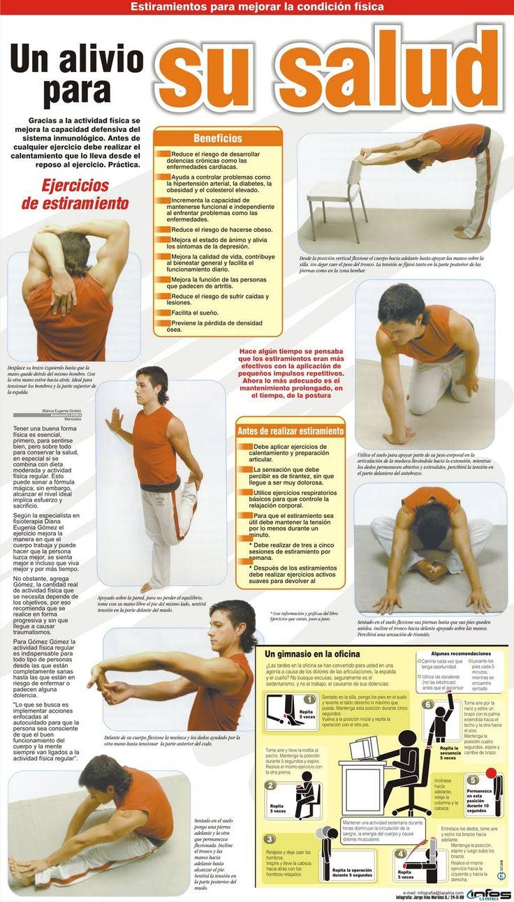 Un alivio para su salud #ejercicios para la oficina #salud  Los estiramientos…