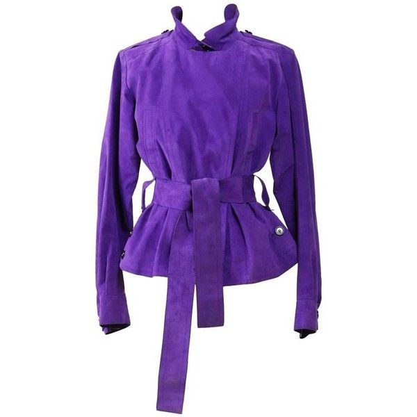 Preowned Yves Saint Laurent Rive Gauche Purple Suede Leather Jacket (41.950 RUB) ❤ liked on Polyvore featuring outerwear, jackets, purple, yves saint laurent, purple jacket, yves saint laurent jacket, suede leather jacket and suede jacket