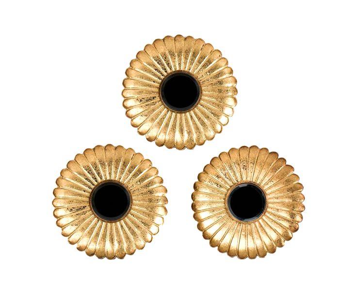 Набор из 3 зеркал - металл - золотой - Ш3Ø36 | Westwing Интерьер & Дизайн