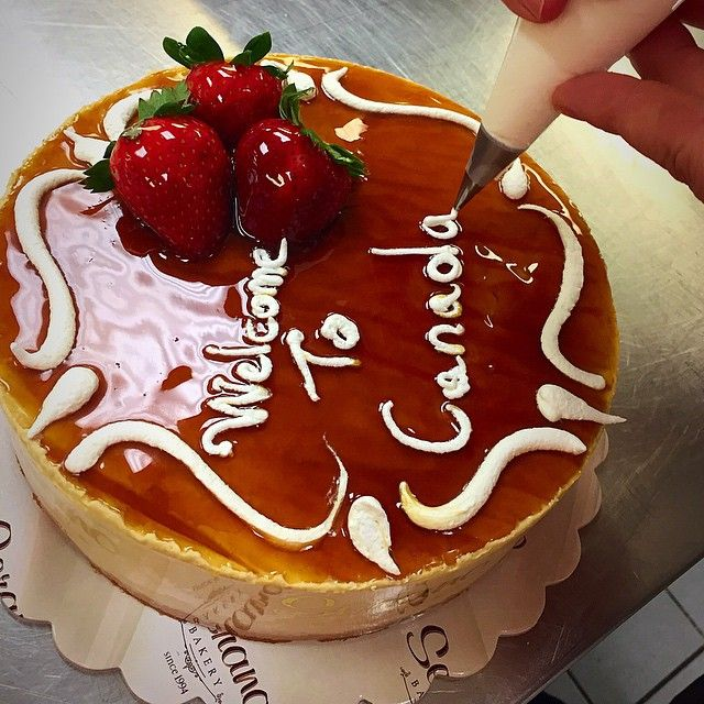 Welcome to Canada!!! We know it can be a little chilly but at least we have yummy cakes #caramel #mousse #cake #coffeetime #greekbakery #seranobakery #Toronto #bakery