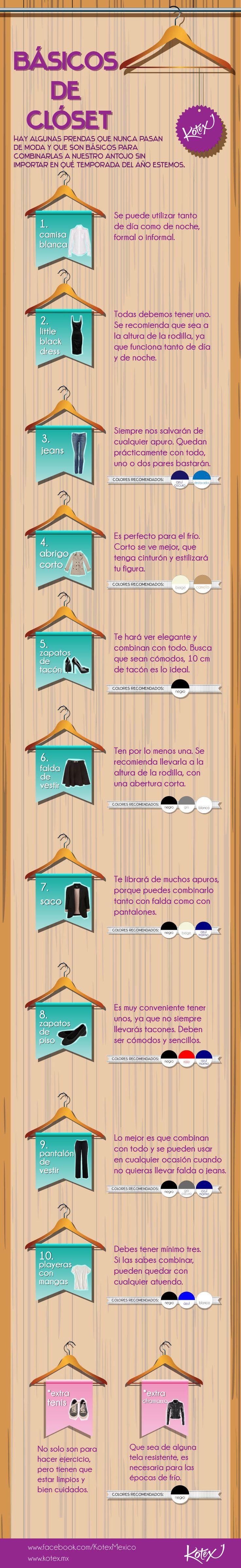 Lo necesario en el clóset para sobrevivir al mundo de la moda. ¿Sabes cuáles son los básicos? #fashion #moda #infografia #closet #cool #girl