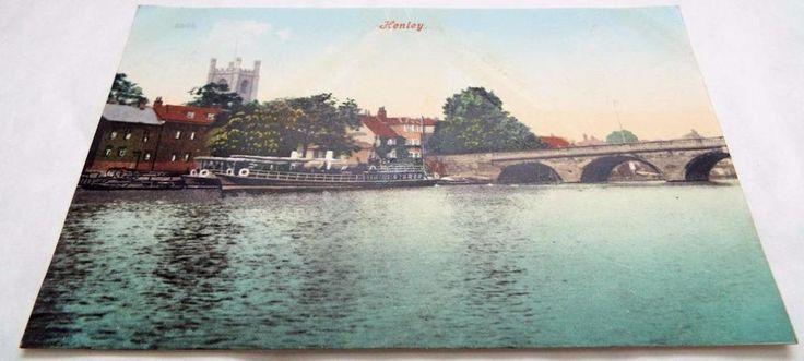 Boat on The River at Henley - Antique Vintage Postcard c1905