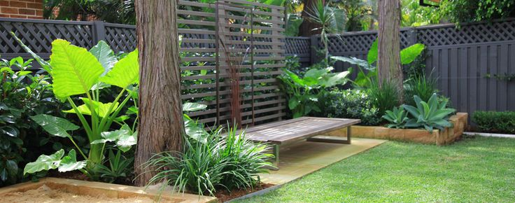 Timber bench in a family friendly landscape design