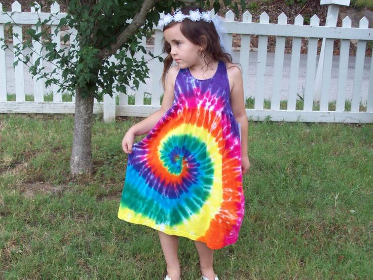 Girls Tie Dye Dress, Baby Tie Dye Dress, Tank Sleeve,  Rainbow Spiral. $24.99, via Etsy.
