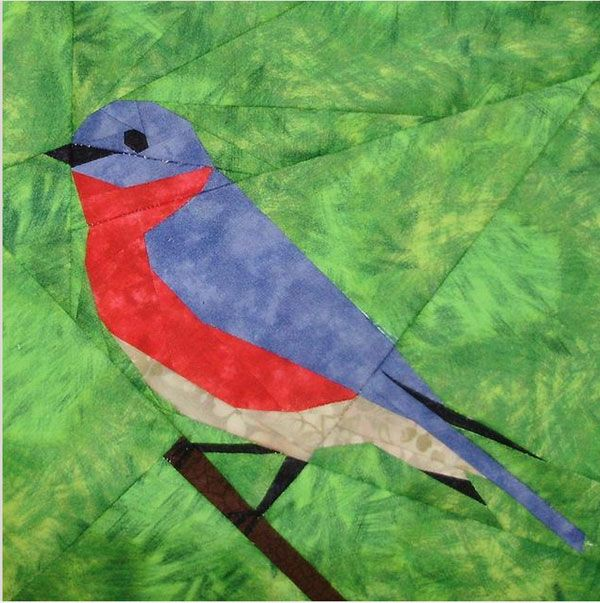 Free bluebird design - Paper Piecing Quilt Patterns, Animals and Flowers