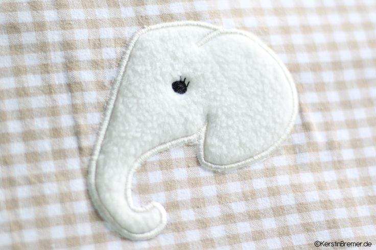 Elefantenkopf ♥ Elefanten Applikation Stickdatei von KerstinBremer.de ♥ elephant appliqué embroidery for embroidery machines. #sticken #nähmalen #nähen #sewing