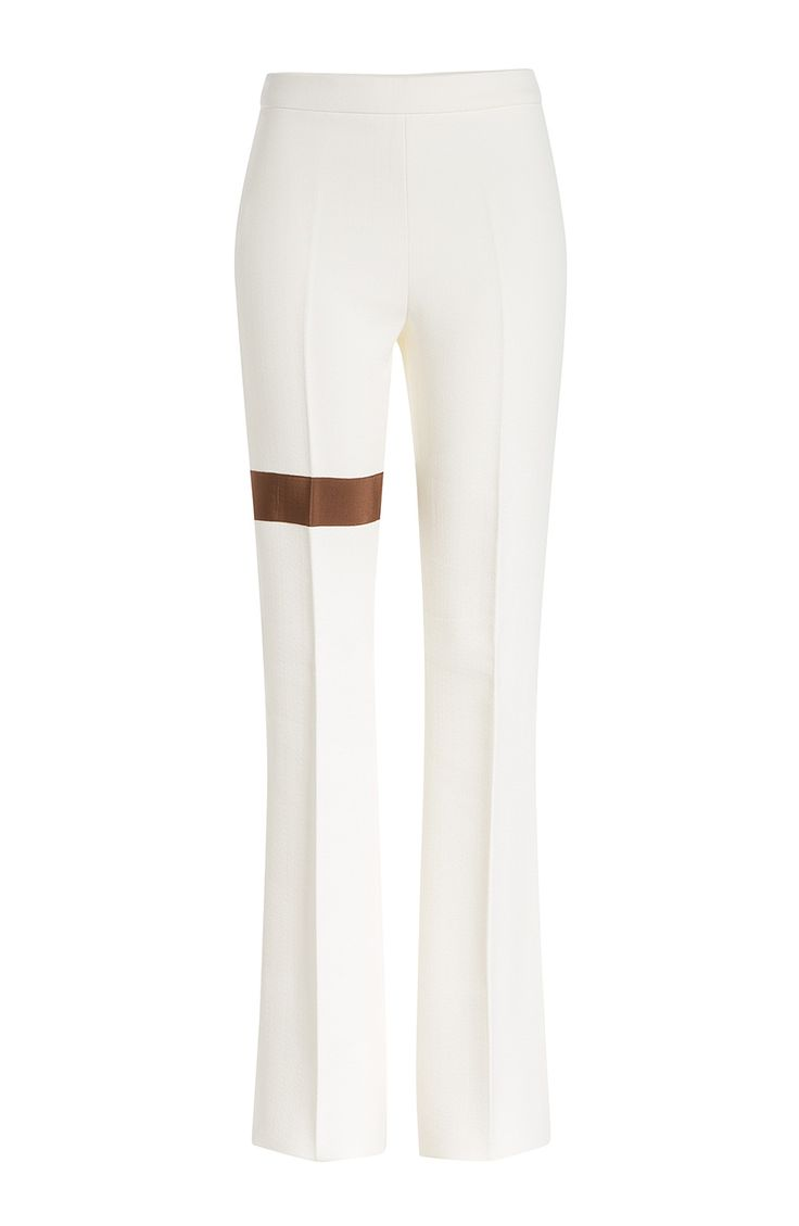A playful grosgrain ribbon panel adds fashion-forward appeal to these undeniably flattering flared trousers from visionary designer Giambattista Valli #Stylebop