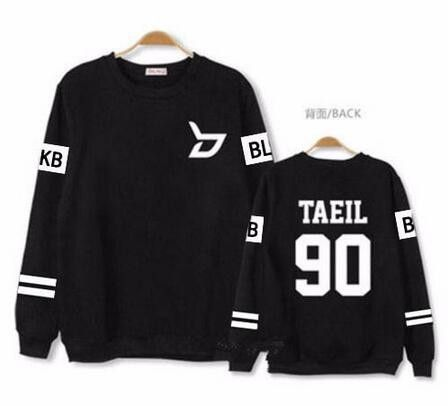 Kpop block b concert same member nname printing o neck sweatshirt unisex plus size zico p.o pullover thin hoodie for spring