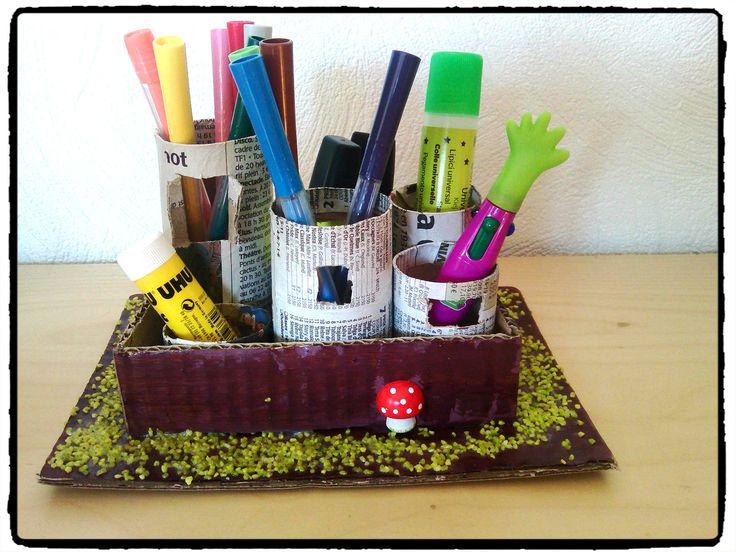 bricolage enfant, pot à crayons, papier toilette