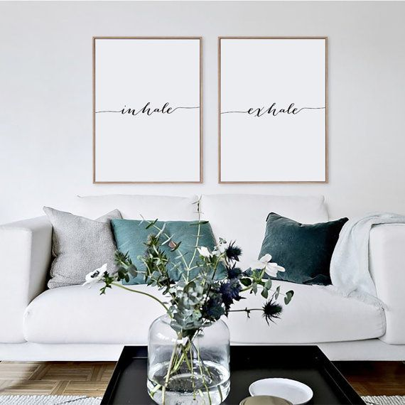 Inhale Exhale Print Minimalist Typography Art by GreenLifePrints