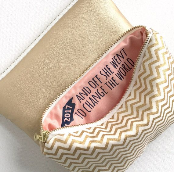 Graduation Gift for Her / Makeup Bag with Inspirational Quote