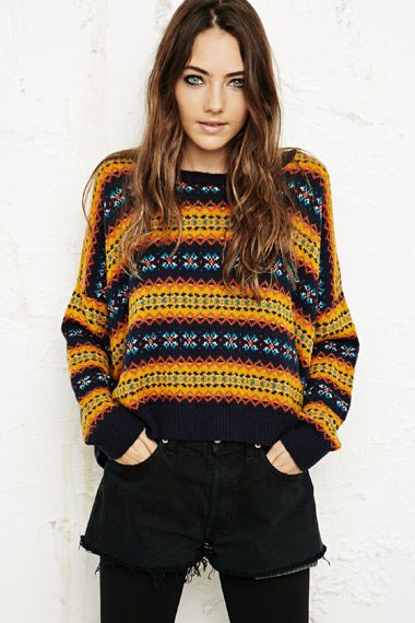 BDG Fair Isle Pop Crop Sweater at Urban Outfitters