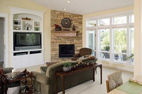 Plan 6966am modern prairie style home plan living room for Prairie style fireplace