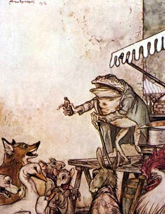 'The Quack Frog' by Arthur Rackham. Illustration from 'Aesop's Fables' - A New Translation by V. S. Vernon Jones. Published by William Heinemann. London. 1912.