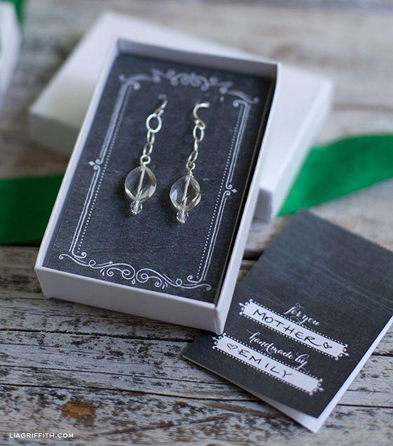 DIY Bead Drop Earrings + Printable Jewelry Holder Gift Card