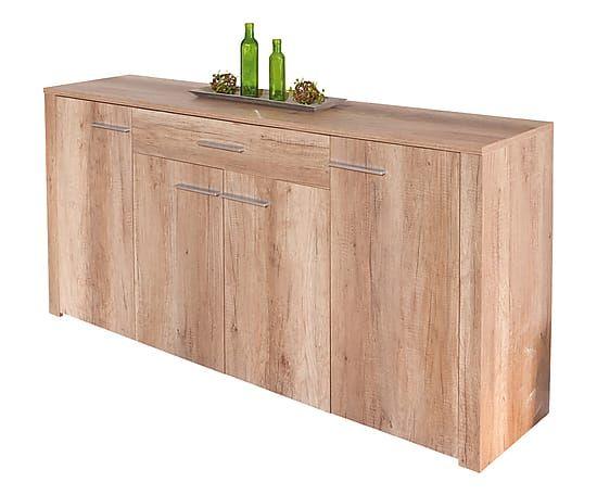 Credenza in melamina e legno con 4 ante Absoluto - 176x89x40 cm
