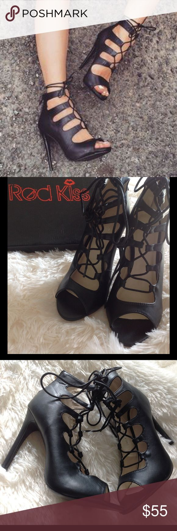 """Black Faux Leather Lace Up Heels From ENGLAND BRAND NEW black lace up heels. 4"""" heel.  Similar to Zara, but, these are by Red Kiss. In box. UK size 6. US size 8. Zara Shoes Heels"""