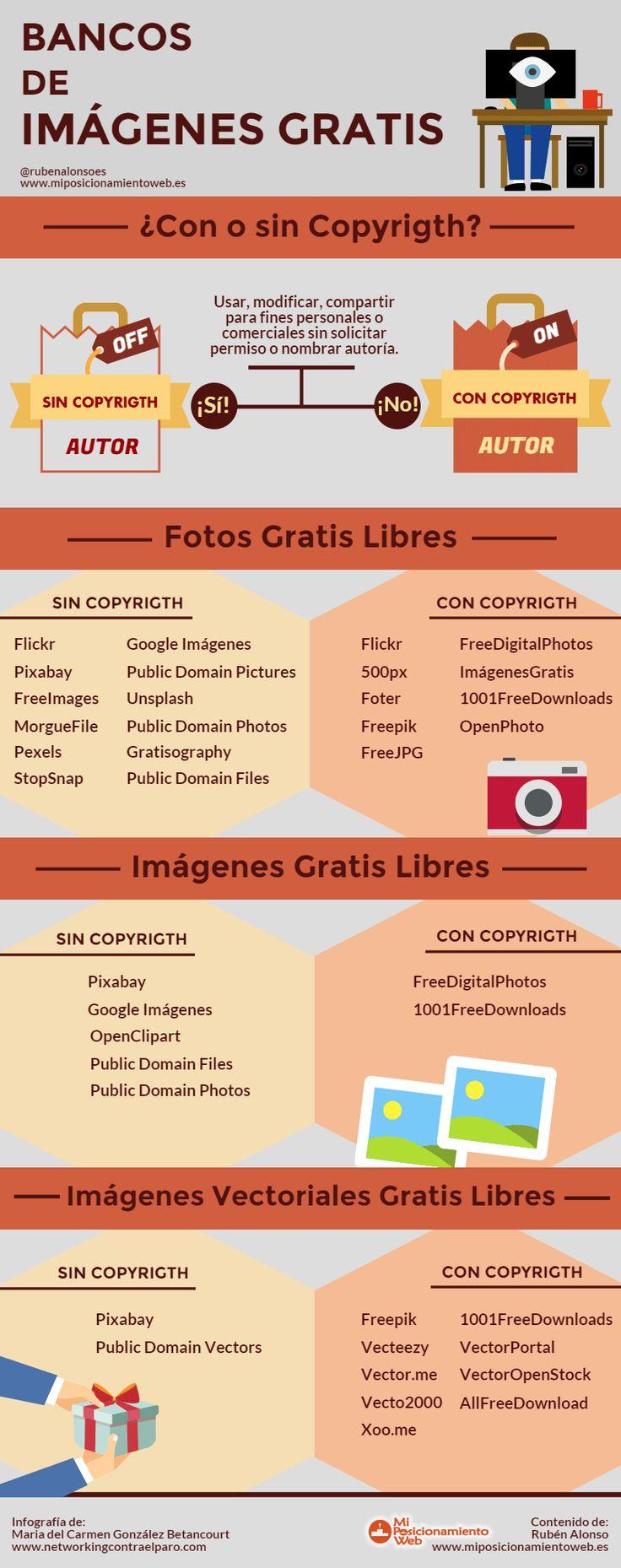 Bancos de imágenes gratis #infografia #infographic #design | TICs y Formación