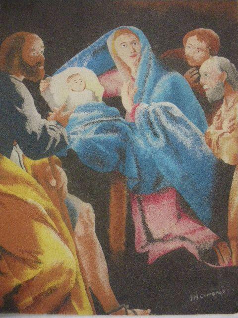 Sagrada familia realizada con arenas de colores