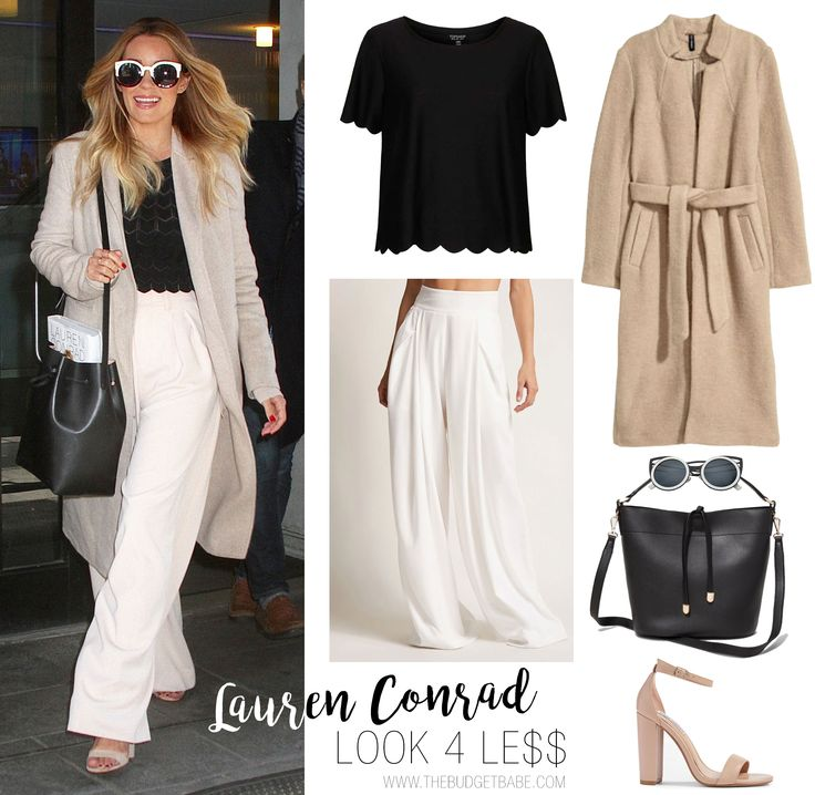 Lauren Conrad's white wide leg pants, scalloped top and tan coat - love her style <3