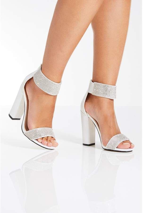 a87bc72f5fa White Satin Diamante Bridal Sandals