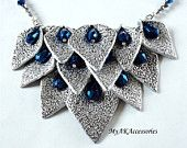 Silver polymer clay statement necklace with blue beads by My AK accessories