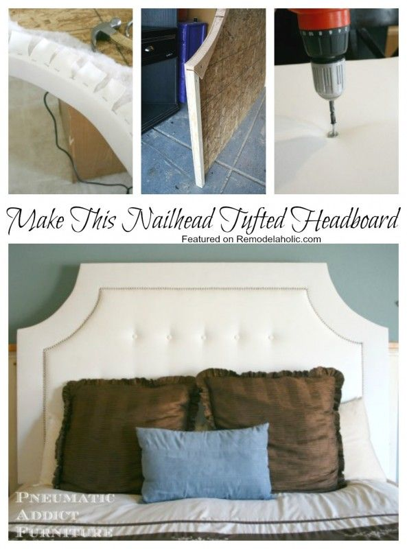 build a tufted headboard with nail head trim diy headboards washers and tutorials. Black Bedroom Furniture Sets. Home Design Ideas