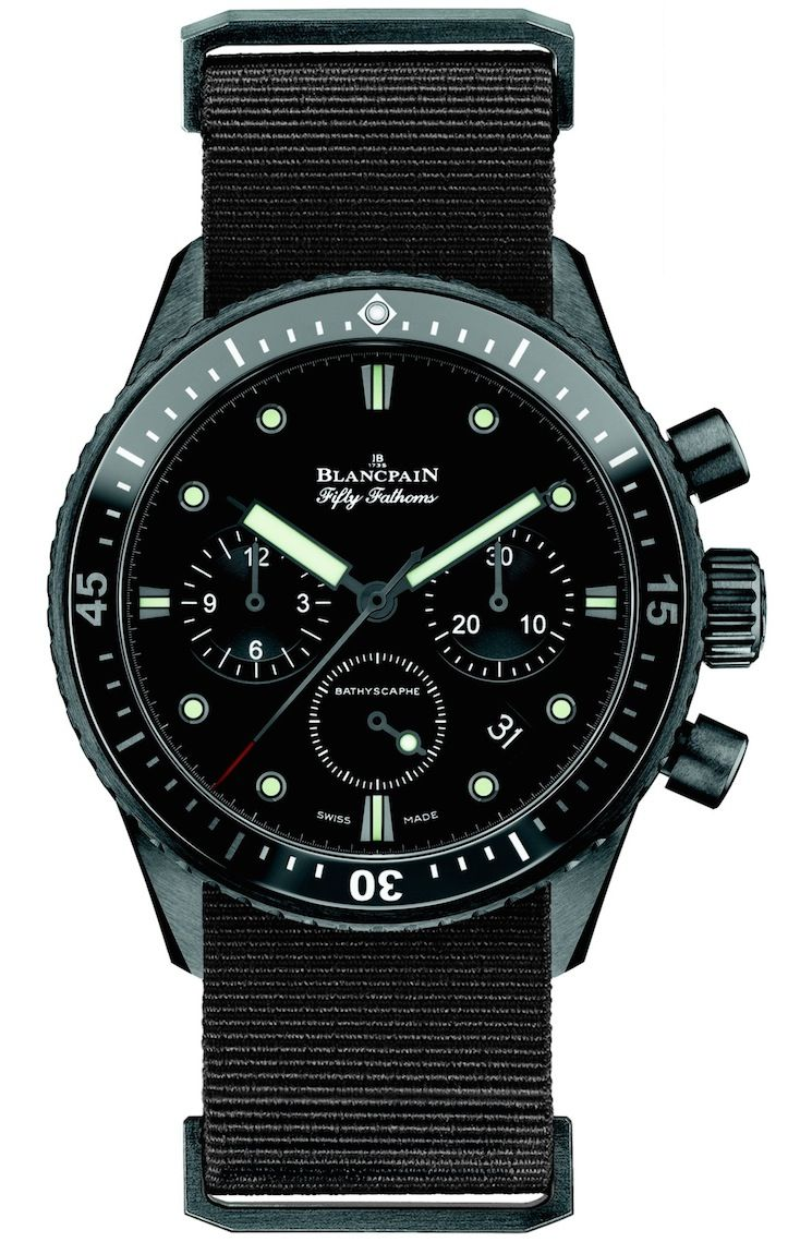 """Blancpain Fifty Fathoms Bathyscaphe Chronograph Flyback Watch - by Maximilien - See more on aBlogtoWatch.com """"Reintroduced last year as a modern incarnation of the famed Blancpain Fifty Fathoms Bathyscaphe of the 50s, which was designed with the proportions and features to provide a tool watch that could also be used outside of diving activities, the Bathyscaphe model is a unique dive watch that looks modern and retro at the same time..."""" #ABTWBaselworld2014"""