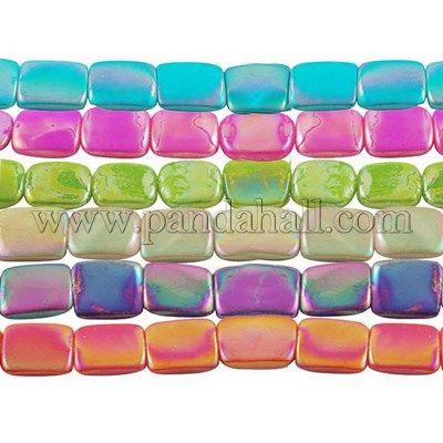 Ручной работы стеклянные бусы нити, спрей окрашены, AB Цвет, Смешанные Цвета, квадрат, около 15 мм длиной, 15 мм шириной, 4 мм, отверстия: 1 мм, около 25 шт / нитка