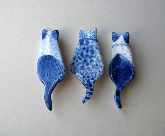 Cat Brooch Handpainted Delft blue porcelain by HarrietDamave, $37.00