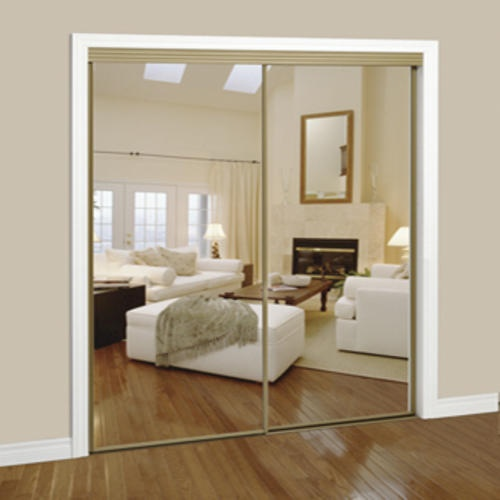 Slimfold 72 Quot X 80 Quot Silver Steel Framed Bypass Mirror Door