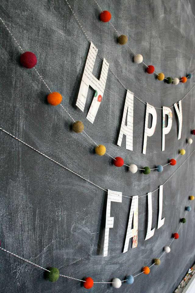 DIY felt fall banner: Felt Ball, Fall Parties, Pompom, Felt Banners, Fall Garlands, Fall Autumn, Fall Banners, Pom Pom, Happy Fall