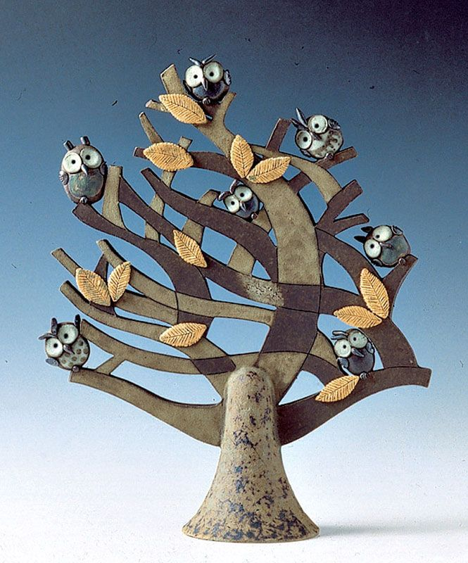 """Albero Ventoso con Civette / Windy tree with little owls"" cod. 040, Ø 11 cm x h 29 cm (dimensioni indicative / indicative dimensions) Ceramiche sonore / Sonorous ceramics"