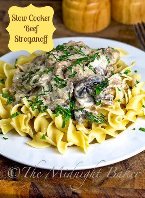 Slow Cooker Beef Stroganoff - Uses NO cream soup-all natural   bakeatmidnite.com   #SlowCooker #CrockPot #BeefStroganoffRecipe