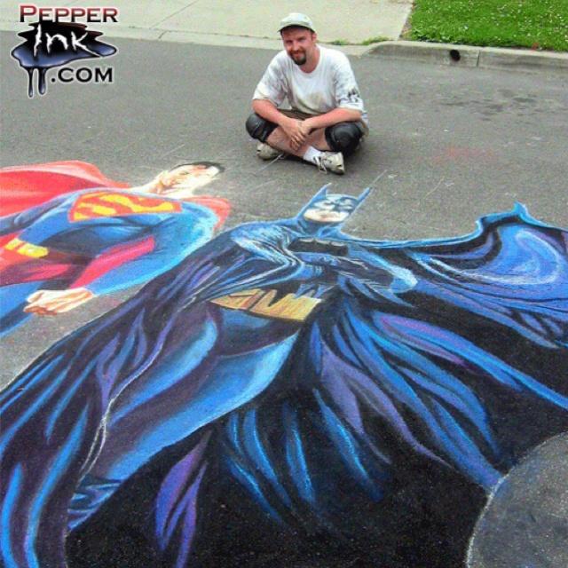 http://www.pepperink.com - Batman and Superman chalk art