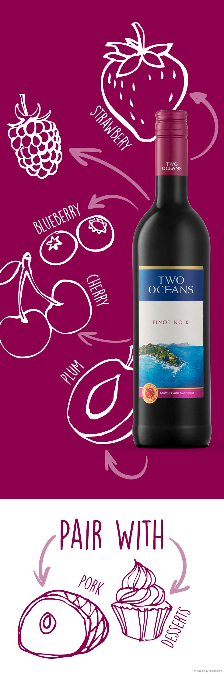 Two Oceans Pinot Noir pairs with light red meat, game, duck, and pasta dishes. The more you know!