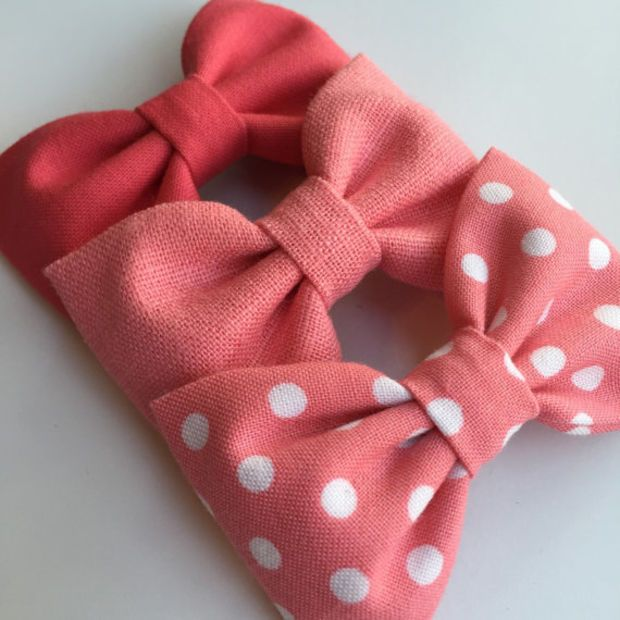 Cute pink hair bow set from Seaside Sparrow Bows. Hair bows for teens, hair bows for girls Hair bow toddler bows hair accessory bow